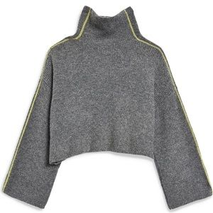 Topshop Grey Cropped Turtleneck Sweater